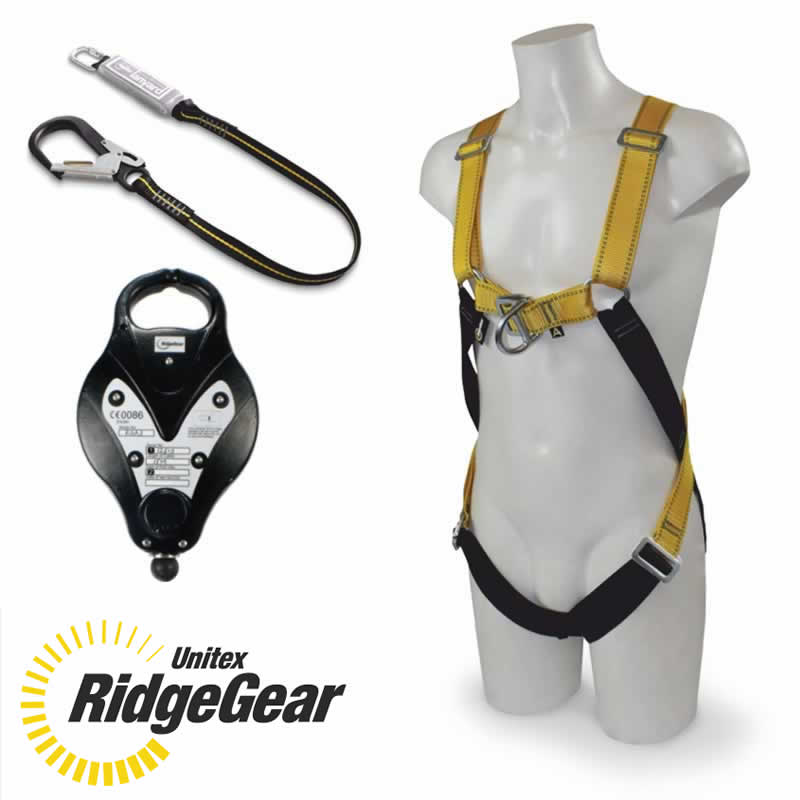 Ridgegear ssafety harness, lanyard and fall arrest block