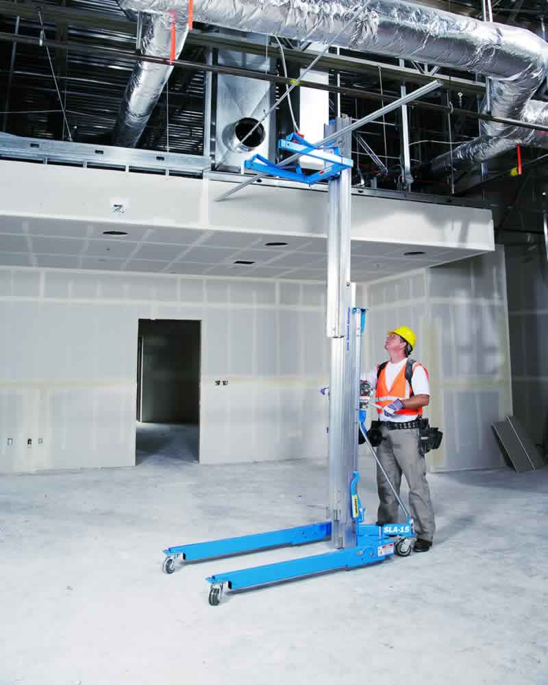 Genie SLA 15 lifting a scaffold pole
